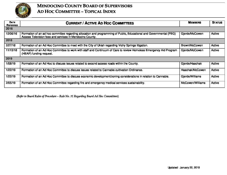 Ad Hoc Committee Index 02-05-19